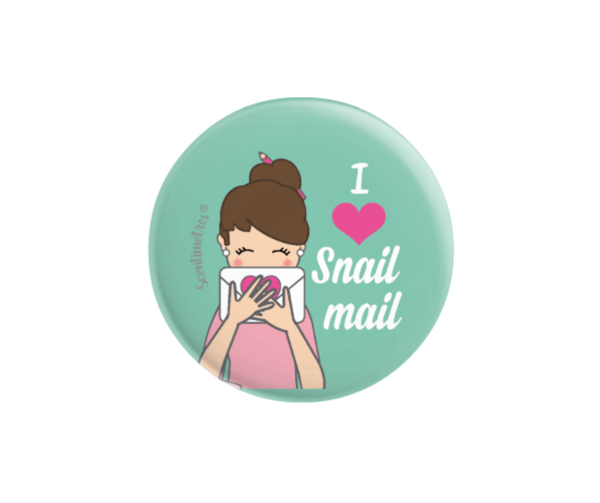 chapa con alfiler I love snail mail