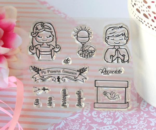 set de sellos acrílicos para scrapbooking temática comunión