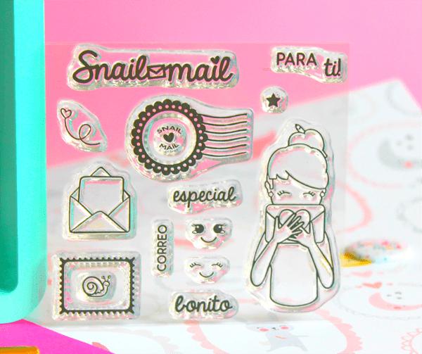 Set de sellos acrílicos para scrapbooking snail mail