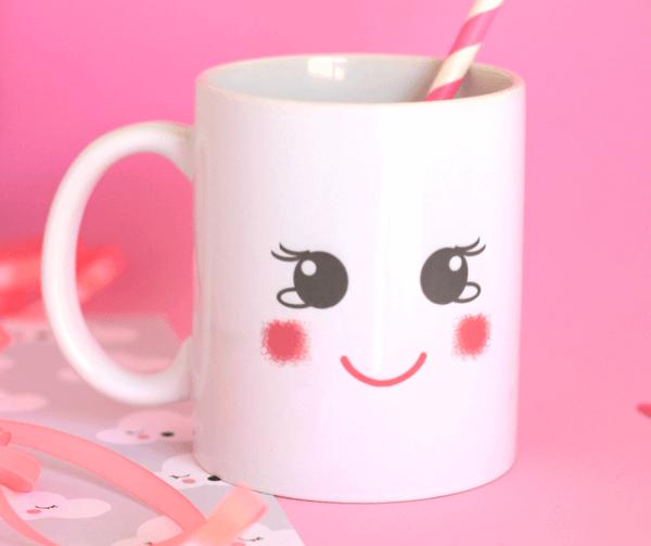 taza de desayuno carita cute