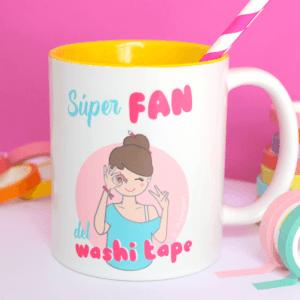 Taza de desayuno súper fan del washi tape