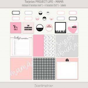 Project Life Scrapbooking Español tarjetas imprimibles mamá