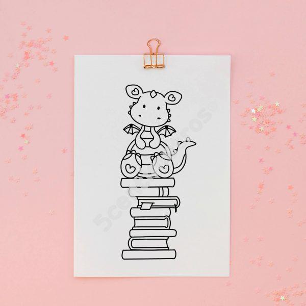 sello acrílico digital para colorear dragón libros san jordi