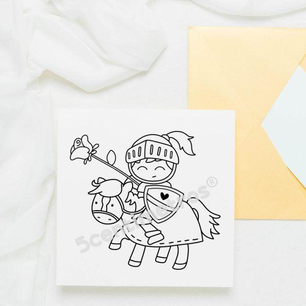 sello digital para colorear caballero