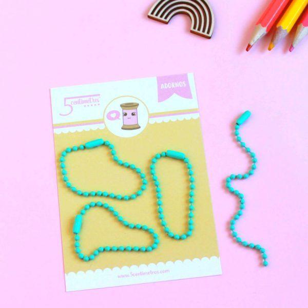 cadena de bolitas colores mint