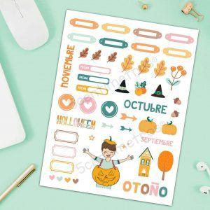 adornos scrapbook imprimibles colores de otoño