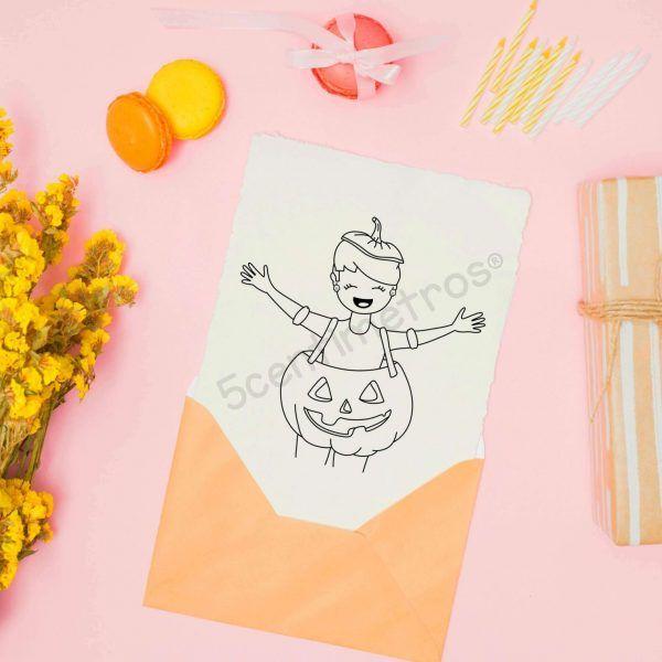 sello digital para imprimir niña calabaza halloween