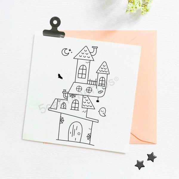 Sello imprimible para colorear casa encantada Halloween