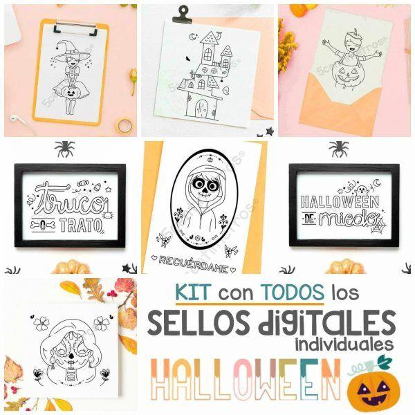 Set de SELLOS DIGITALES para imprimir HALLOWEEN